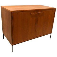 Danish Modern Teak Mini Stereo Cabinet with Iron Base Lift Top or Double-Door