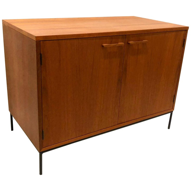 Danish Modern Teak Mini Stereo Cabinet with Iron Base Lift Top or Double-Door For Sale