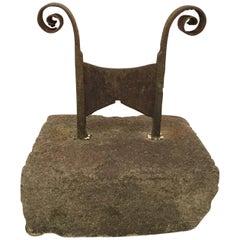 18th Century Iron Boot Scraper Set in Limestone