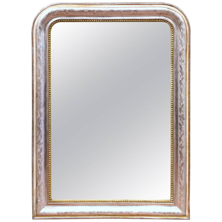 19th Century French Louis Philippe Silver & Gold Leaf Mirror with Foliage Decor