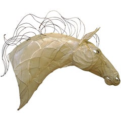 21st Century Wire and Glazed Paper Horse Head Sculpture by Kris Mongene