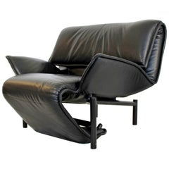 Mid-Century Modern Black Leather Recliner Lounge Chairs Magistretti for Cassina