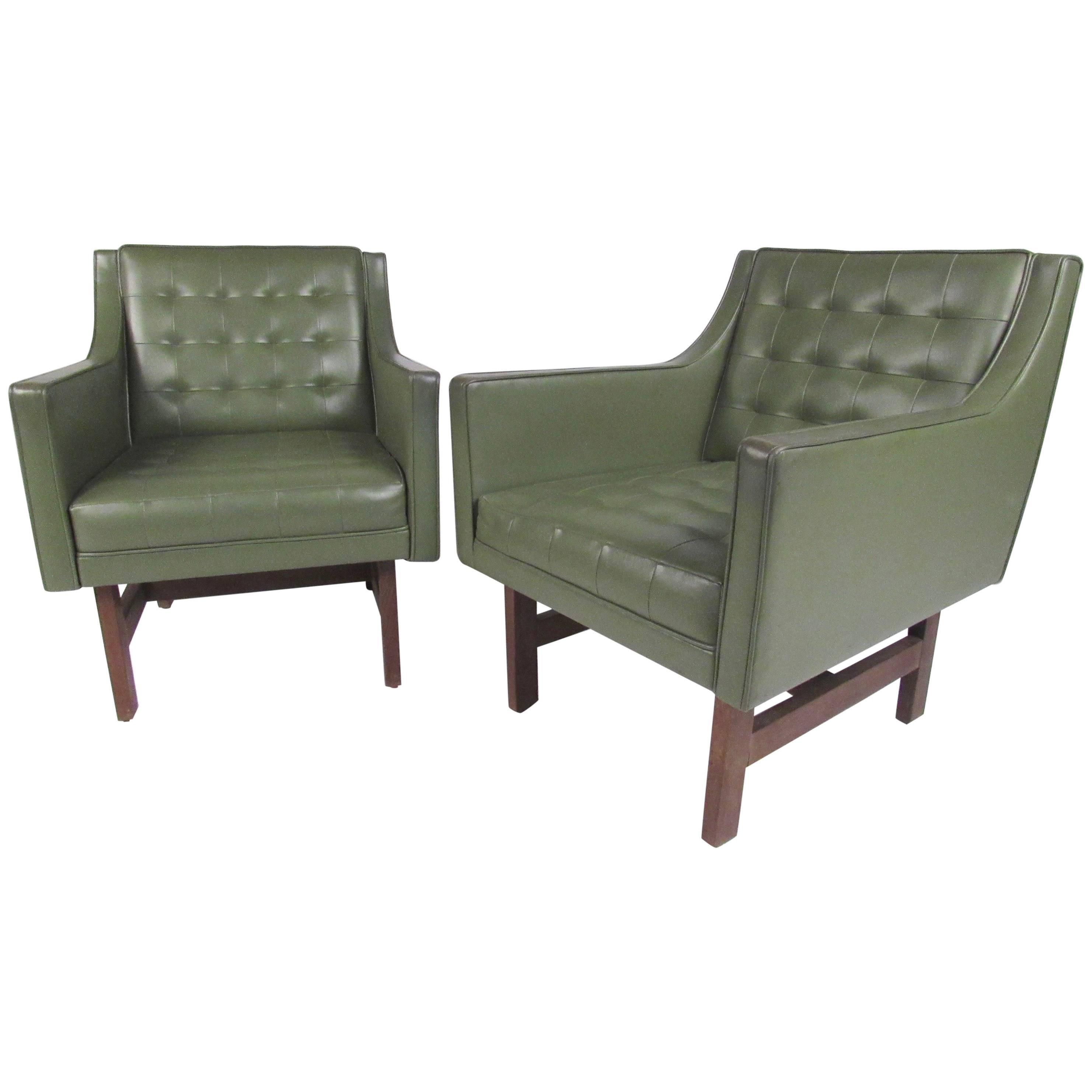 Pair of Vintage Modern Vinyl and Teak Club Chairs