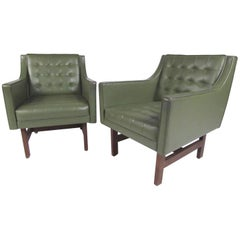 Pair of Vintage Modern Vinyl and Teak Club Chairs