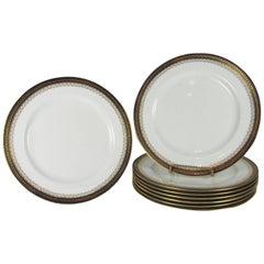 Set of Eight Davis Collamore Royal Doulton Gilt Edge Dinner Plates