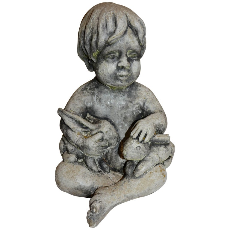 Midcentury Concrete Statue Of Baby Holding Bunnies For