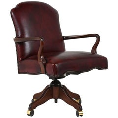 Contemporary Regency-Style Leather Office Chair