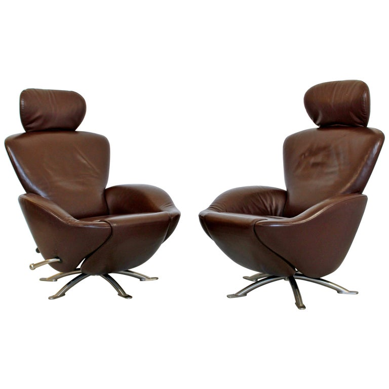 Surprising Mid Century Modern Brown Leather Pair Of Dodo Cassina Onthecornerstone Fun Painted Chair Ideas Images Onthecornerstoneorg