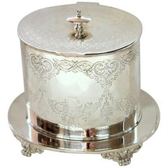 Antique English Sheffield Silver Plate Oval Biscuit Box, John Wigfall & Co.
