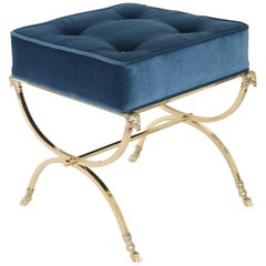 Hollywood Regency Italian Brass Campaign Stool in the Style of Maison Jansen