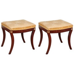 Pair of Early 19th Century Swedish Empire Mahogany Stools