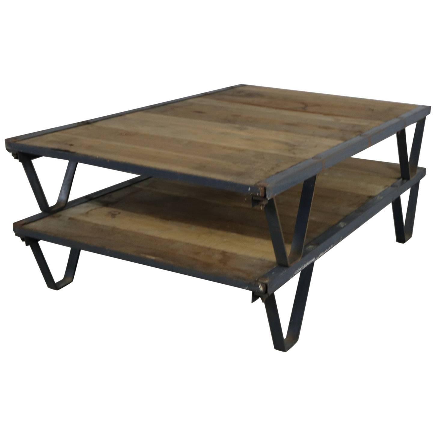 American Industrial Oak and Steel Pallet Coffee Table