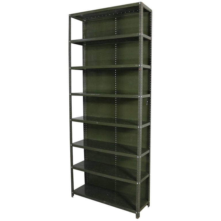 Industrial Steel Bookcase Shelving Unit Original Paint with Great Patina For Sale