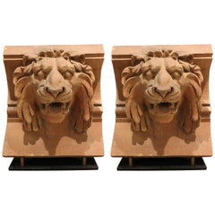 Pair of American 19th Century Terracotta Lion Architectural Elements, New York