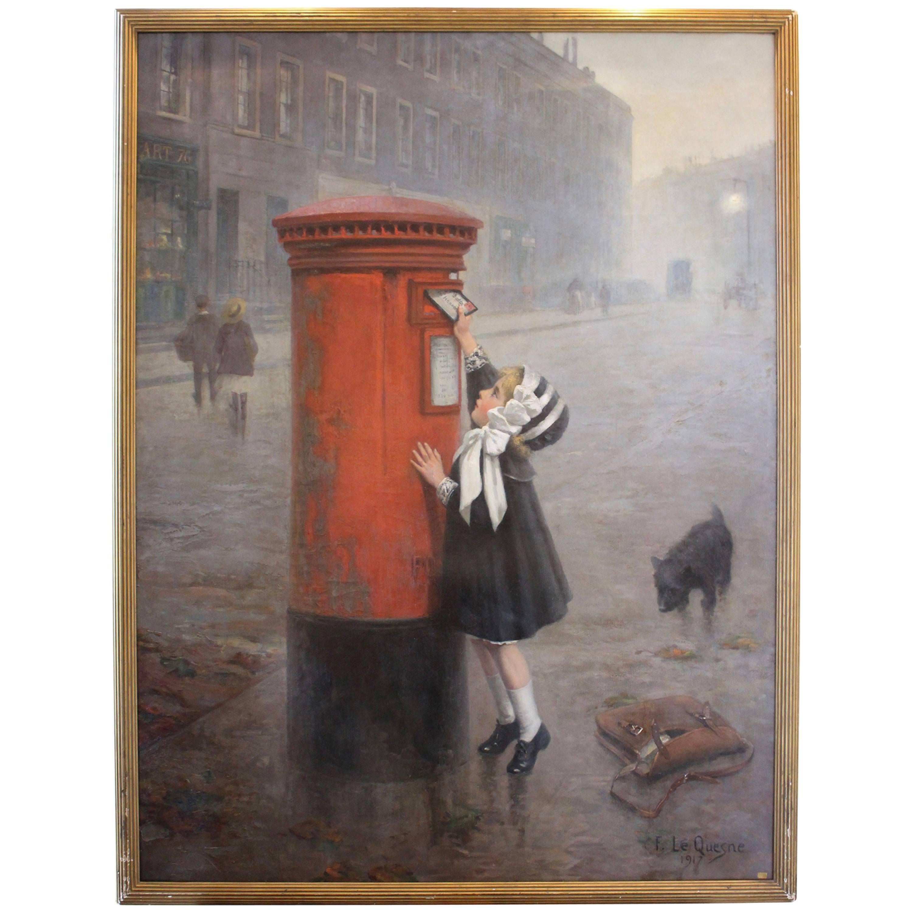 """Oil on Canvas """"The Pillar Box, a Letter to Daddy"""" Signed F. Le Quesne"""