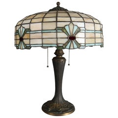 Arts & Crafts Mosaic Leaded Glass Table Lamp, Bradley & Hubbard School
