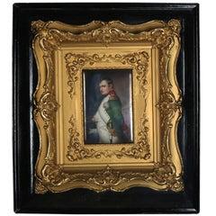 Antique KPM School Painted Porcelain Plaque Portrait of Napoleon, 19th Century