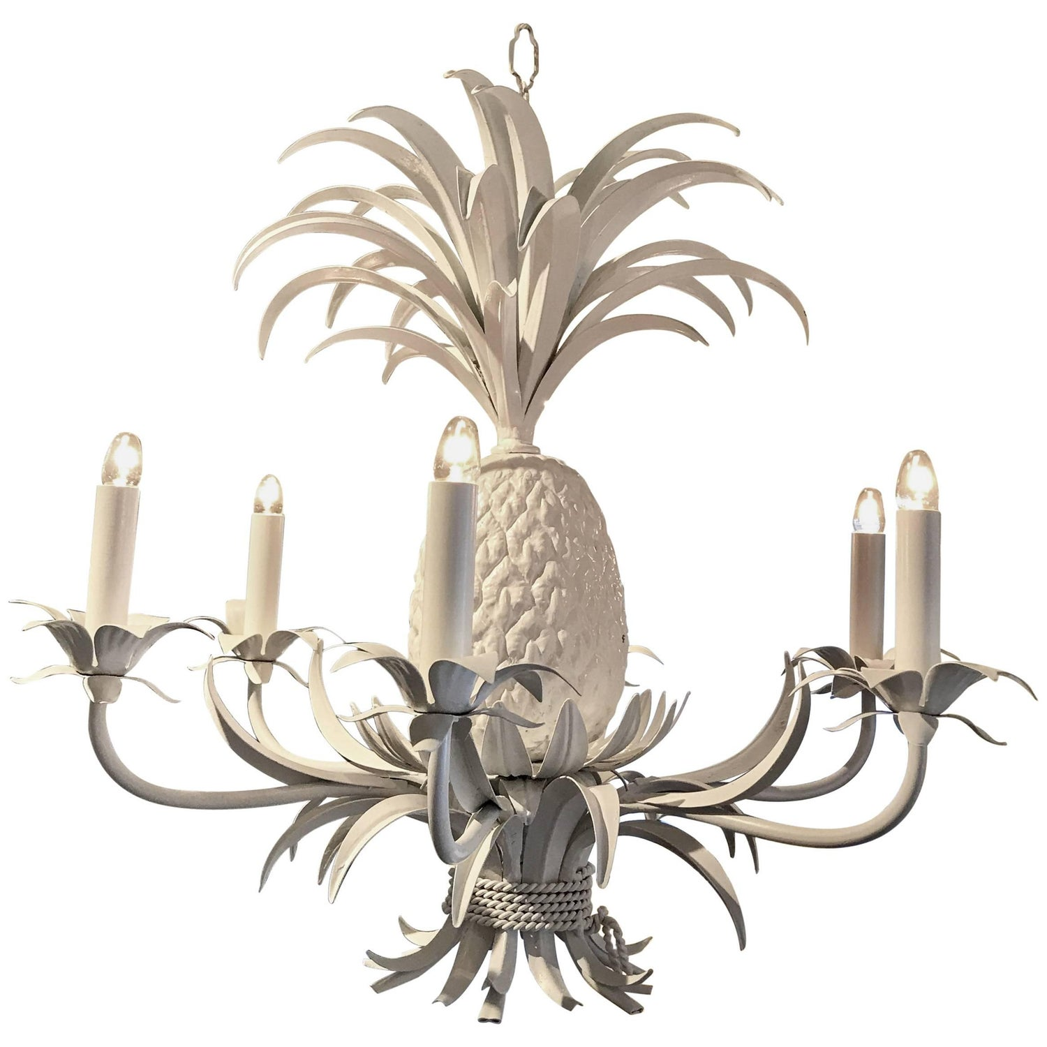 Midcentury Tole Pineapple Chandelier in White For Sale at 1stdibs