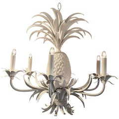 Midcentury Tole Pineapple Chandelier, in White