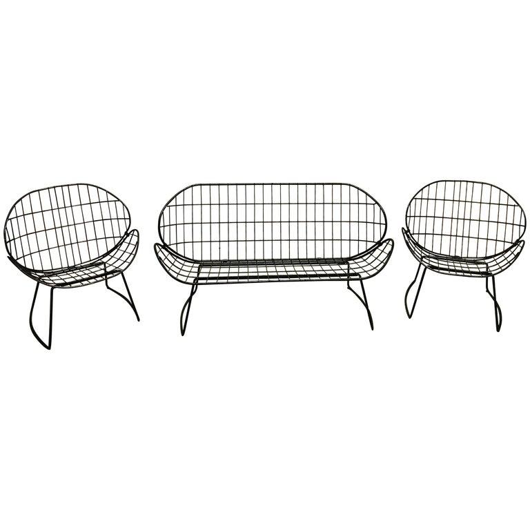 Italian Midcentury Three-Piece Wrought Iron Grid Pattern Patio Set