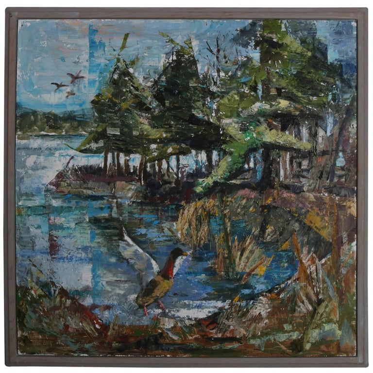 Framed Oil on Board Impressionist Painting of Lake with Mallards, circa 1950