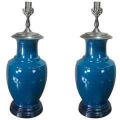 Pair of Chinese Export Aqua Monochrome Vases, Now as Lamps