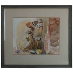 Vintage Framed Watercolor Painting, Italian Garden Wall Fountain by Alison Hall