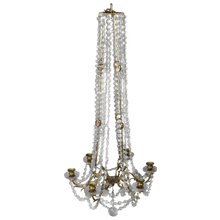 French Victorian Gilt and Cut Crystal Six-Light Draping Chandelier, circa 1900