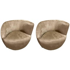 Pair of Vladimir Kagan Swivel Nautilus Chairs, in Ultrasuede