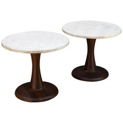 Pair of Rustic Modern Turned Walnut & Travertine Marble Pedestal Side Tables