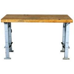 American Industrial Work Table Wood Top Steel Base Vintage
