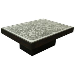 Acid Etched Vintage Coffee Table by Bernhard Rohne Aluminium, 1970s