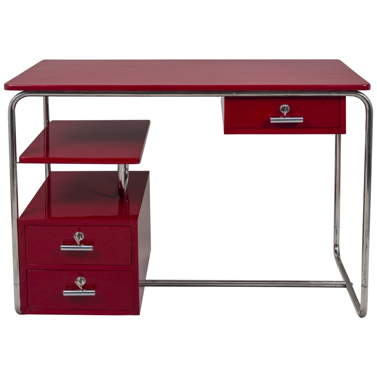 Completely restored funkcionalism Chrome Writing Desk from Germany 1930-1939