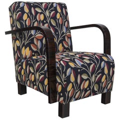 Completely restored Art Deco Armchair, New upholstery and fabric, piano lacquers