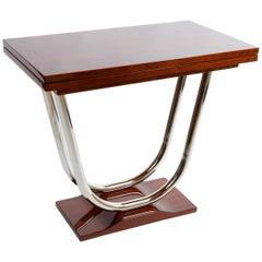 Unique extendable ArtDeco Coffee Table, Chrome and Palisander, Period: 1920-1929