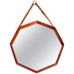Midcentury Swedish Octagonal Teak Mirror with Leather Strap