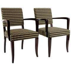 Completely restored Pair of Art Deco Armchairs, Jules Leleu, new fabric.