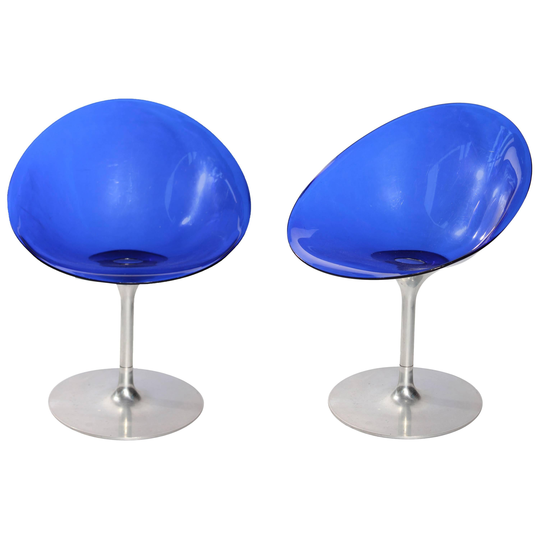 "Pair of Philippe Starck ""Eros"" by Kartell Blue Italian Lucite Swivel Chairs"