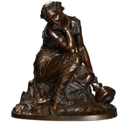 Mid-19th Century French Female Bronze in the Classical Form 'Reflections'