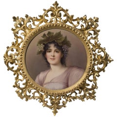 Circular KPM Style Porcelain Plaque Depicting a Maiden as a Young Bacchante