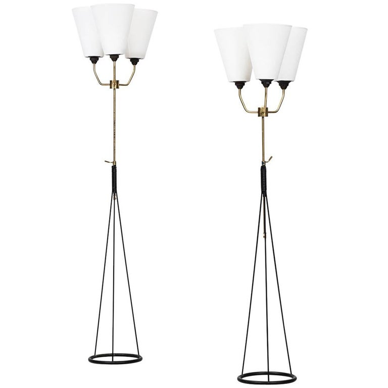 Pair of Height Adjustable Uplights/Floor Lamps Produced in Sweden
