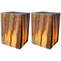 Pair of Mid-Century Modern Onyx Cube Lights
