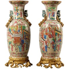 Pair of Gilt-Bronze Mounted Famille Rose Porcelain Vases with Dragon Handles