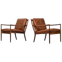Rare Pair of Easy Chairs Model Samsö Designed by Ib Kofod-Larsen Produced by OPE