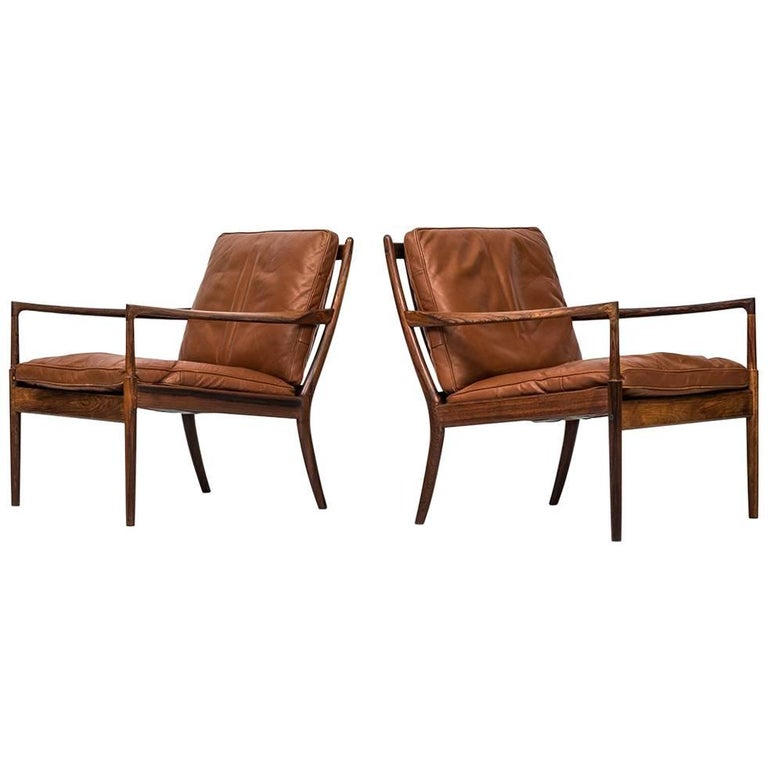 Rare Pair of Easy Chairs Model Samsö Designed by Ib Kofod-Larsen Produced by OPE For Sale