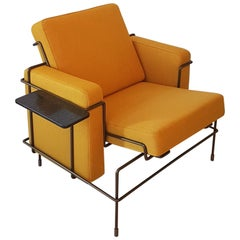 Konstantin Grcic Italian Yellow Fabric Armchair with Brown Steel Frame