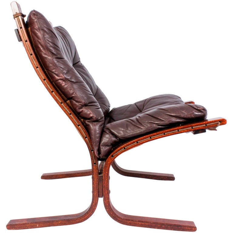 "Midcentury ""Siesta"" Leather Lounge Chair by Ingmar Relling for Westnofa"