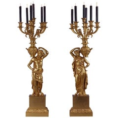 Magnificent Pair of Gilt-Bronze Figural Empire Period Candelabra