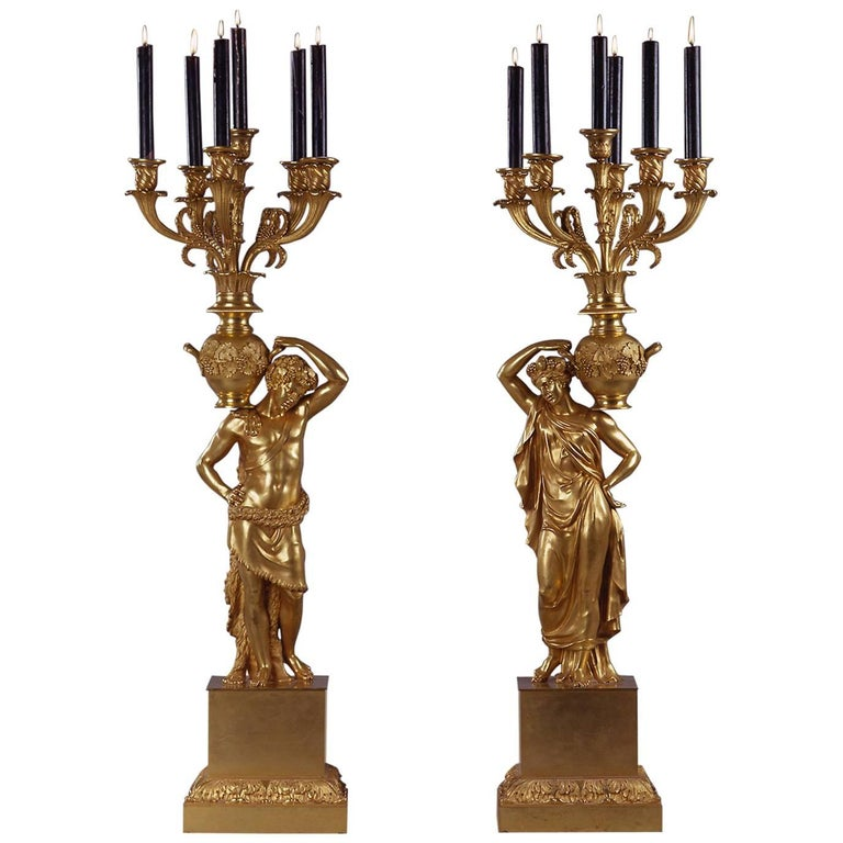 Magnificent Pair of Gilt-Bronze Figural Empire Period Candelabra 1