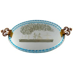 Murano, Italy, Art Glass Rectangular Tray with Mirror Coating with Galant Scene